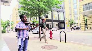 """Amazing Child Violinist Street Performing """"Roar"""" by Katy Perry Tyler Butler-Figueroa Raleigh NC"""