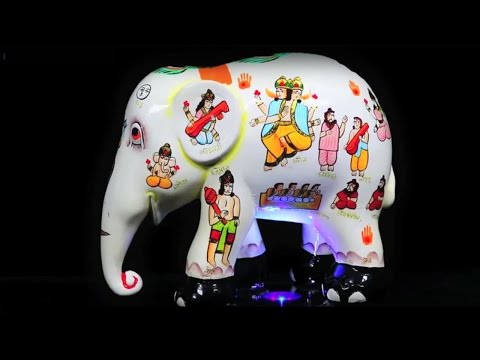 Elephant Statue With Gods Painted Images