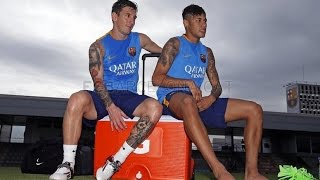First training session for Mascherano, Messi, Alves and Neymar Jr