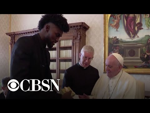Pope Francis meets with NBA players at the Vatican