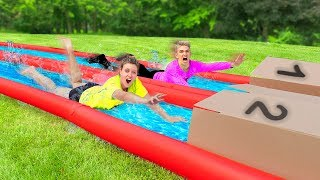 TRY NOT TO SLIP N SLIDE INTO THE WRONG MYSTERY BOX!! (Backyard Waterslide Challenge)
