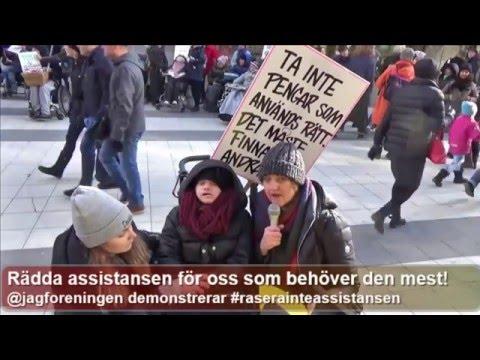 Hillevis Larssons tal från demonstrationen för att rädda det förhöjda assistansbeloppet