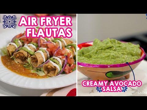 Chicken Flautas in the Air Fryer and Creamy Avocado Salsa Recipe