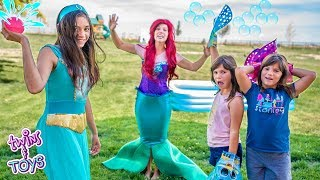 Princess Jasmine and Little Mermaid   Water Balloon Pool Party with Twins Kate & Lilly