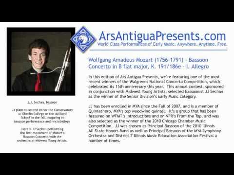 Wolfgang Amadeus Mozart (1756-1791) -- Bassoon Concerto in B flat major, K. 191/186e - I. Allegro
