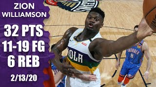 Zion Williamson sets new career high with 32 points in Thunder vs. Pelicans | 2019-20 NBA Highlights