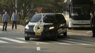 Hearse carries body of late Samsung chief Lee Kun-hee | AFP
