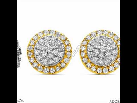 unique yellow gold diamond earring
