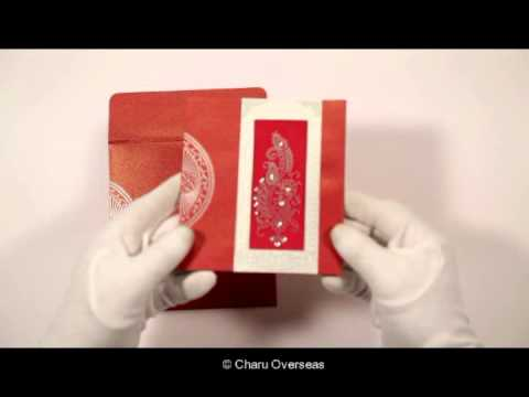 RED SHIMMERY PAISLEY THEMED - FOIL STAMPED DESIGNER WEDDING INVITATIONS  -  D-8230C