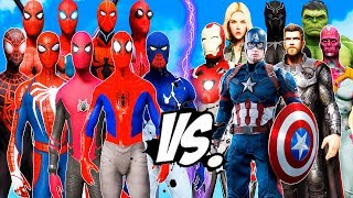ALL SPIDERMAN SUIT vs THE AVENGERS - Hulk, Iron Man, Captain America, Black Widow, Thor, Vision