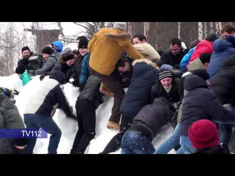 TV112 Празднование Масленицы в Малых Корелах под Архангельском 22 02 2015