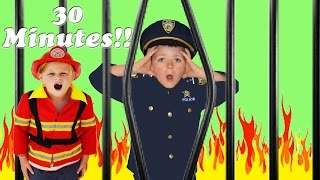 30 Minutes! Fire and Kid Cops Compilation featuring The Assistant! family fun kid friendly video!!