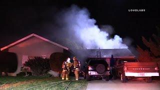 Injury House Fire wSOT / Anaheim    RAW FOOTAGE