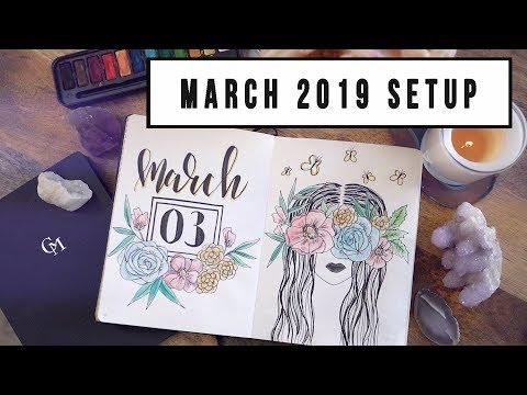 MARCH 2019 JOURNAL SETUP | CREATIVE JOURNALING | ANN LE