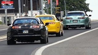 Toyota Supra's Accelerating at European Supra Meet 2019 - 1000HP+, Anti lag, Powerslides,...