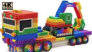 How To Make RC Truck Excavator Transport From Magnetic Balls (Satisfying) | Magnet World Series