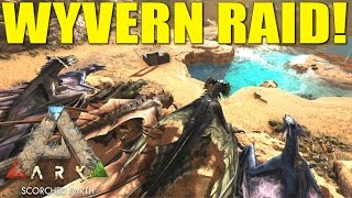 ARK: SCORCHED EARTH - CRAZY WYVERN CAVE BASE TOUR! (PVP TRIBE LIFE