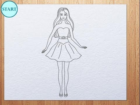 How to draw Barbie