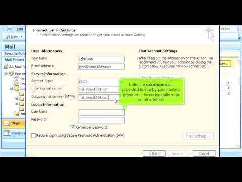 How to configure an email account in Outlook 2007