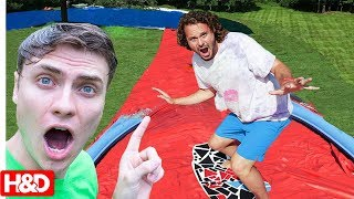 WORLDS BIGGEST BACKYARD WATERSLIDE on Skimboard!! with Stephen and Carter Sharer & Lizzy