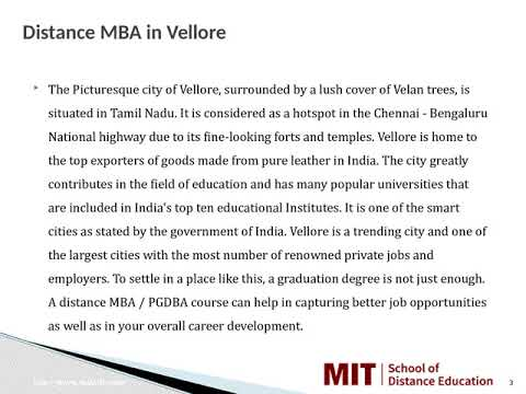Distance Management Courses | Correspondence MBA | Distance MBA in Vellore