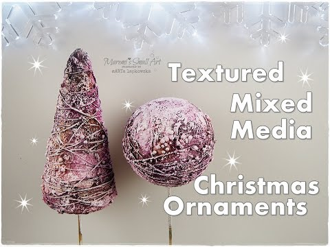 Textured Mixed Media Christmas Tree Ornaments ♡ Maremi's Small Art ♡