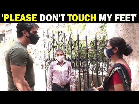 Viral video: Lady touches Sonu Sood's feet after tying him Rakhi