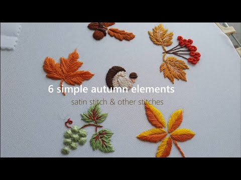 2 Amazing Embroidery    Autumn botanical collection / satin stitch & other stitches