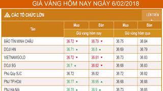 GIÁ VÀNG HÔM NAY NGÀY 06/02/2018 - Vàng SJC  - PNJ - DOJI - Vàng GOLD - vàng thế giới -vàng 9999