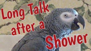 Einstein has a long talk after a shower