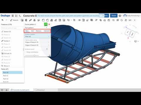What's New in Onshape (December 15th, 2016) Curve Pattern