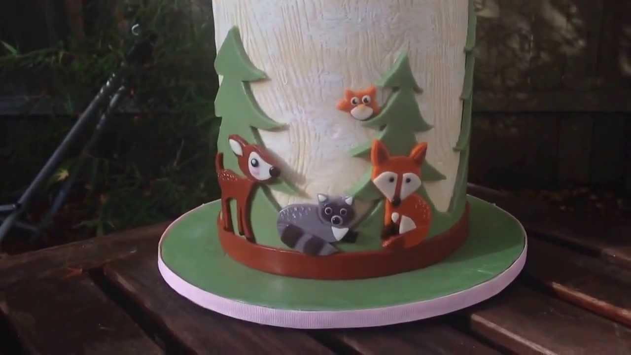 Woodland Animal Baby Shower Cake Youtube