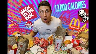 """""""EVERY"""" FAST FOOD IN 24 HOURS CHALLENGE (+12,000 CALORIES)"""
