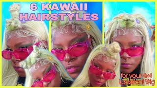 6 Easy Kawaii Styles💚💛💜 How To Style The Stylist 4x4 Lacefront Wig Rapunzel SHOW OFF THOSE EDGES