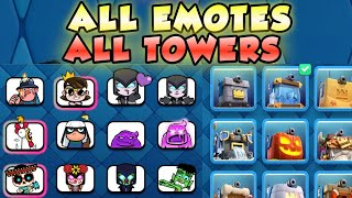 All Emotes And All tower skins In Clash Royale With Sounds 2021| All Tower Skins And All Emotes 2021