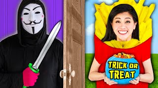 TRICK OR TREAT at HACKER HOUSE! Spooky Halloween Pranks & DIY Zombie Costume Makeup Ideas Challenge
