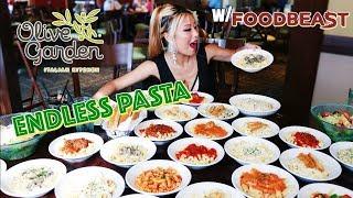 Olive Garden Endless Pasta Eating Challenge ft. Foodbeast | RainaisCrazy