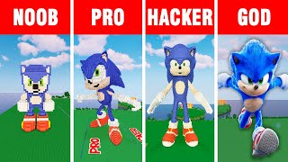 Minecraft NOOB vs PRO vs HACKER vs GOD: SONIC THE HEDGEHOG part 2 BUILD CHALLENGE in Minecraft