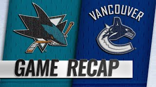 Kane, Thornton help Sharks down Canucks, 7-2