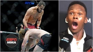 Israel Adesanya has incredible reaction to Jorge Masvidal KO of Ben Askren | UFC 239 | ESPN MMA