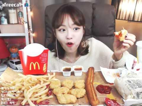맥날신메뉴 앵그리상하이버거,불고기버거,맥너겟,츄러스 먹방!!! 슈기♬ Mukbang