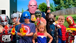Nerf Battle: Thanos Returns To Battle Avengers Hero Kids - a Fun Kids Parody