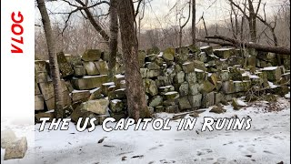 The somewhat hidden ruins of the US Capitol building deep in a forest in Washington D.C.