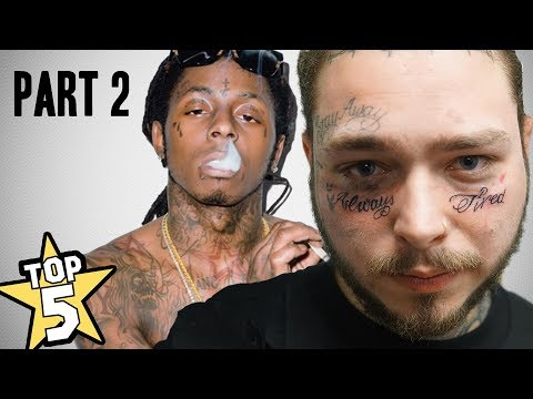 TOP 5 | RAPPER FACE TATTOO'S PART 2 ( Post Malone, Lil Wayne & More... )