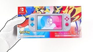 "Nintendo Switch Lite ""POKEMON SWORD & SHIELD"" Console Unboxing - Limited Edition Zacian & Zamazenta"