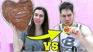 MINI CHOCOLATE HEART vs GIANT CHOCOLATE HEART!