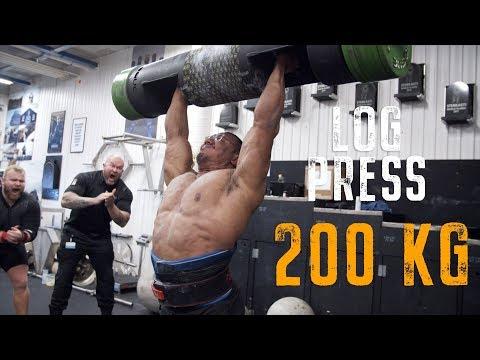 444lb/200kg LOG PRESS PR! LARRYWHEELS AND THOR!