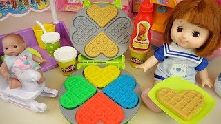 Play doh Waffle and baby doll kitchen cooking play