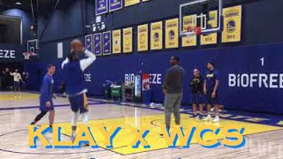 [HD] Klay cameo (!) as Willie Cauley-Stein 💦 does workout (not cleared for contact yet)