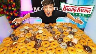 EATING 100 DONUTS CHALLENGE!! *500,000 CALORIES* (Entire Krispy Kreme Menu World Records)